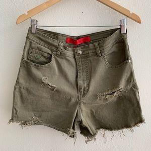Gloria Vanderbilt Olive Distressed Cutoff Shorts